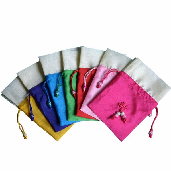 TooGet Sachet Gift Bags Ice Silk Fabric Bags Drawstring Cotton Bags  Inch 6-Pack