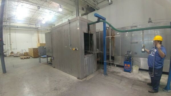 Used Powder Paint Sys 3-Stage SS Wash Dry-offCure Oven Conveyor and booth