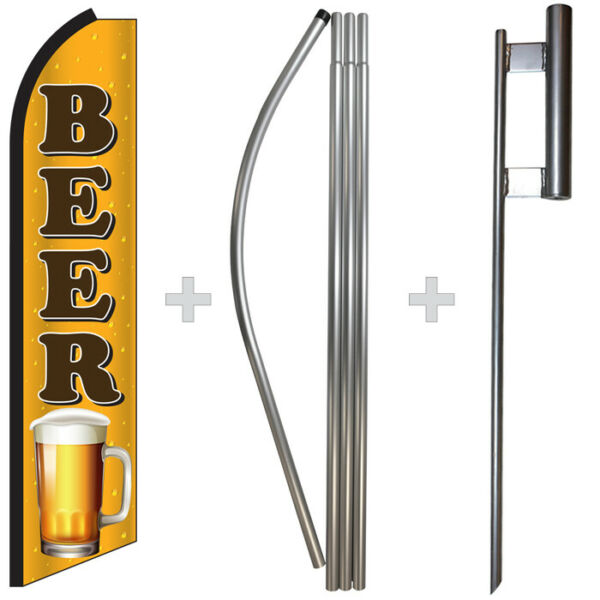Beer 15#x27; Tall Swooper Flag amp; Pole Kit Feather Super Banner
