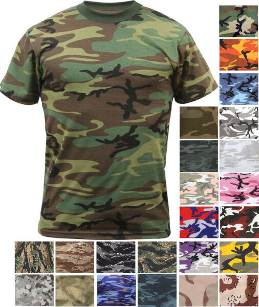 Camo T Shirt Tactical Tee Short Sleeve Military Army Camouflage Uniform Fashion $11.99