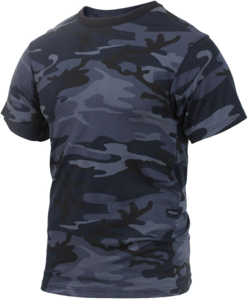 Mens Midnight Blue Camouflage Tactical Military Short Sleeve T Shirt Dark Camo