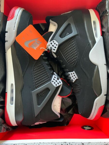 Brand New Authentic Nike Air Jordan Retro IV 4 Bred/Blk cement Size 12