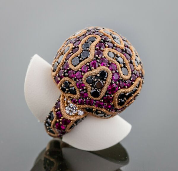 Alex Soldier Fine Lace Ring 18K Rose Gold Diamonds and Rubies Limited Edition