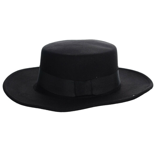 Fashion Vintage Flat Top Wide Brim Round Wool Felt Fedora Hat