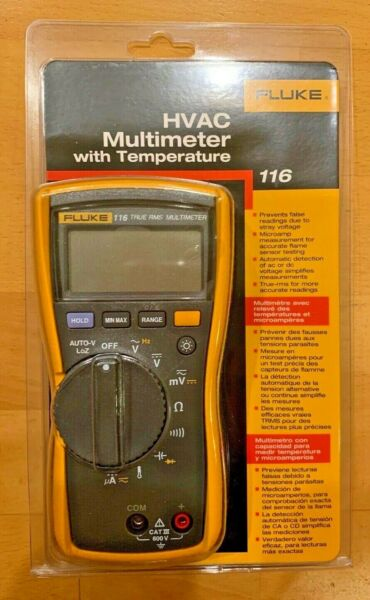Fluke 116 Digital HVAC Multimeter True RMS with Temperature and Microamps - NEW