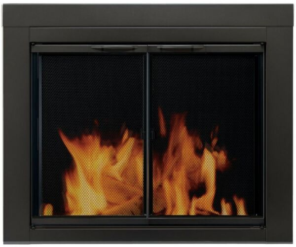 Pleasant Hearth Fireplace Doors Small Tempered Glass Cabinet Style Mesh Panels
