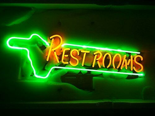 New Rest Rooms Neon Light Sign 24quot;x20quot; Lamp Poster Real Glass Beer Bar