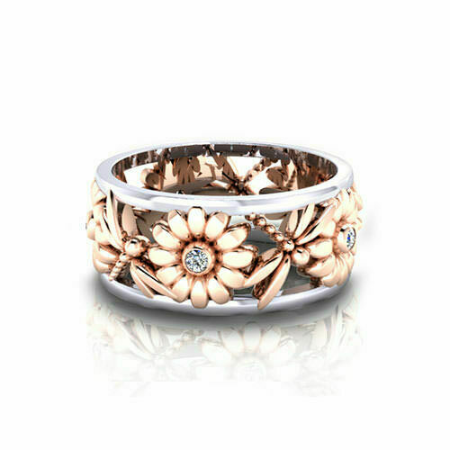 Gorgeous Dragonfly Ring Sunflower Boho Flower Womens Rose Gold Plated Sizes 7 6