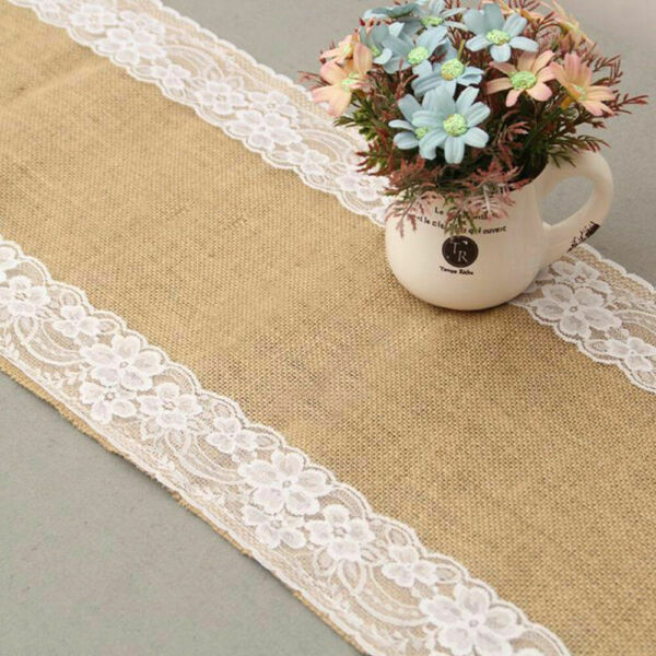 20pk Hessian Lace Table Runner Linen Natural Burlap Rustic Wedding Decor 12x118