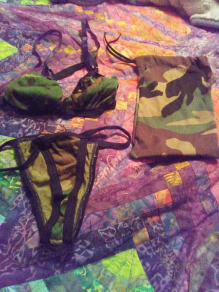 Women's Sexy Camo Outfit With Storage Bag Size Small Medium Large