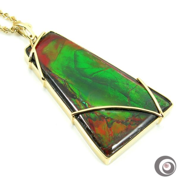 Striking 25.3 x 43.3mm Ammolite Pendant Necklace Solid 18k Yellow Gold #P4950