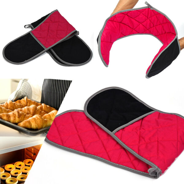 Thick Double Oven Gloves Kitchen Cooking Pot Holder Heat Resistant Mitts Safety