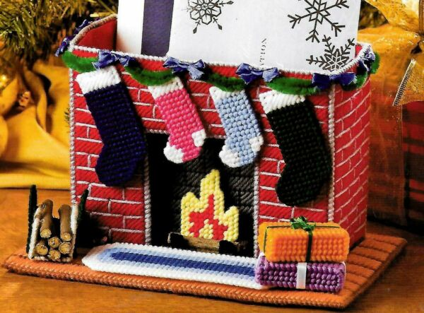 FIREPLACE CARD HOLDER - SANTA TISSUE TOPPER & ORNS. ~~~ PLASTIC CANVAS PATTERNS