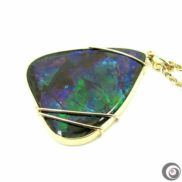 Phenomenal  32 x 37mm Ammolite Pendant Necklace Solid 18k Yellow Gold #P4951