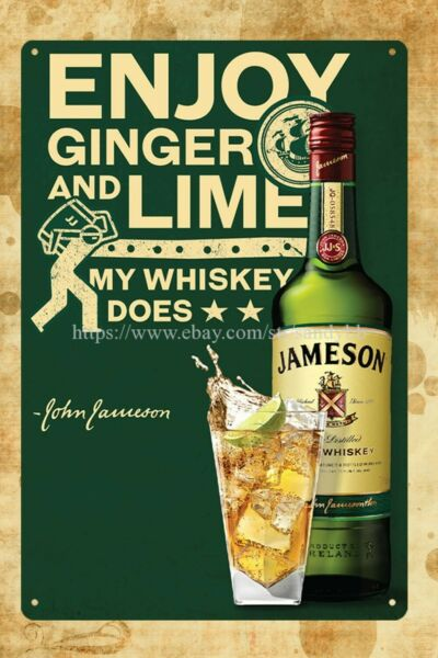 old signs Jameson Irish Whiskey club bar metal tin sign