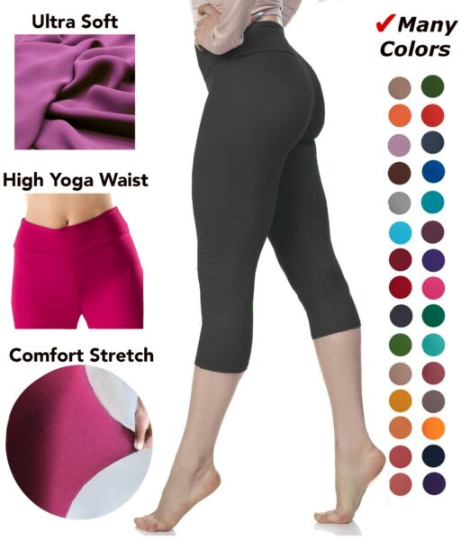 Extra Soft Capri Leggings with High Wast 20 Colors One Size and Plus Size $9.99