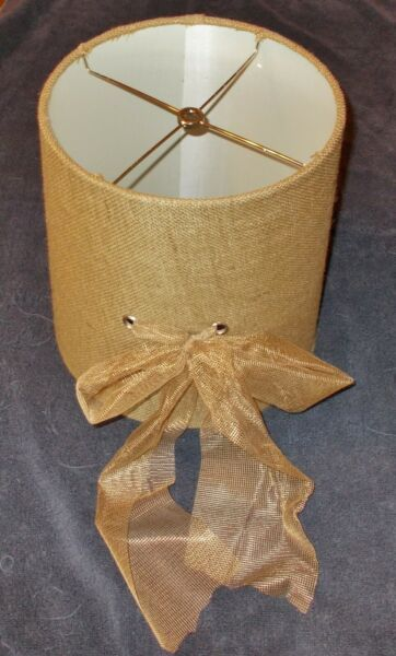 BROWN BURLAP LAMP SHADE with LACE BOW 9 1 2 in TOP X 10 3 4 in BOT X 11 in TALL