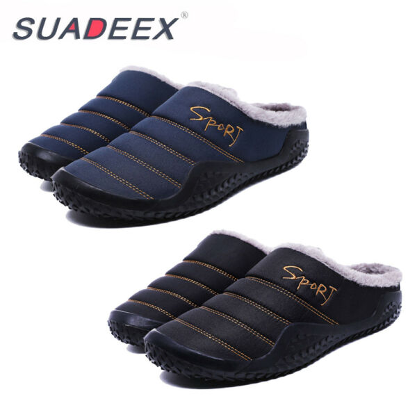 Mens Winter Indoor Outdoor Slippers Warm Fur Slip on Cozy Bedroom House Shoes