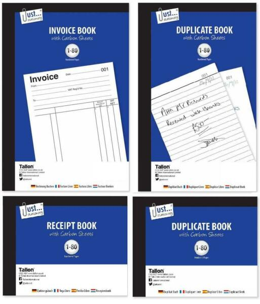 Invoice Receipt Duplicate Book Carbon Sheet Numbered Pages Paper Half Full Size GBP 2.69