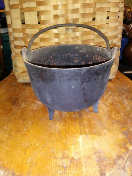 19th Century Cast Iron Three Legged Cauldron Pot Hearth Cooking Tool