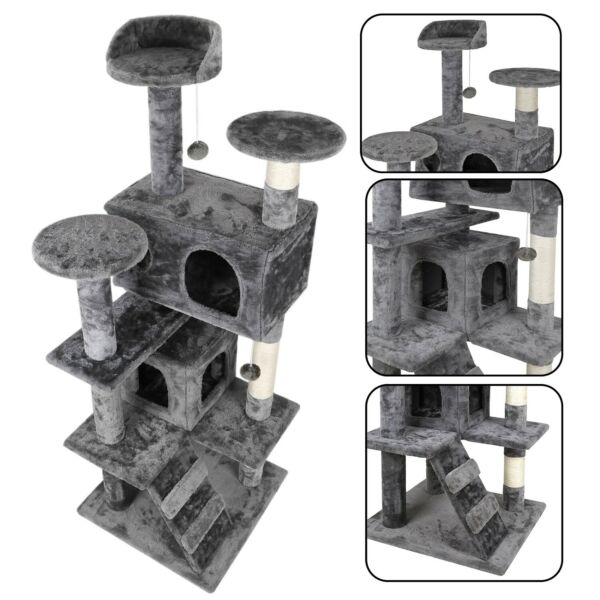 53quot; STURDY Cat Tree Tower Activity Center Large Playing House Condo For Rest $57.99