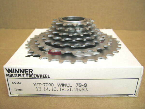 New-Old-Stock Suntour Winner Ultra 7-Speed Freewheel (13x32) wSilver Finish