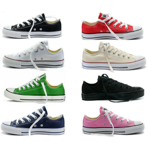 Authentic Womens Mens Classic Athletic Sneakers Low High Top Casual Canvas Shoes