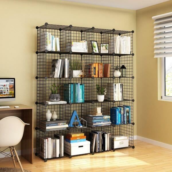 20 Cube Mesh Wire Storage Cupboard Cabinet Wardrobe Rack Toy Book Shelves