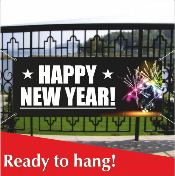 HAPPY NEW YEAR Advertising Banner Vinyl  Mesh Banner Sign Home Decoration Party