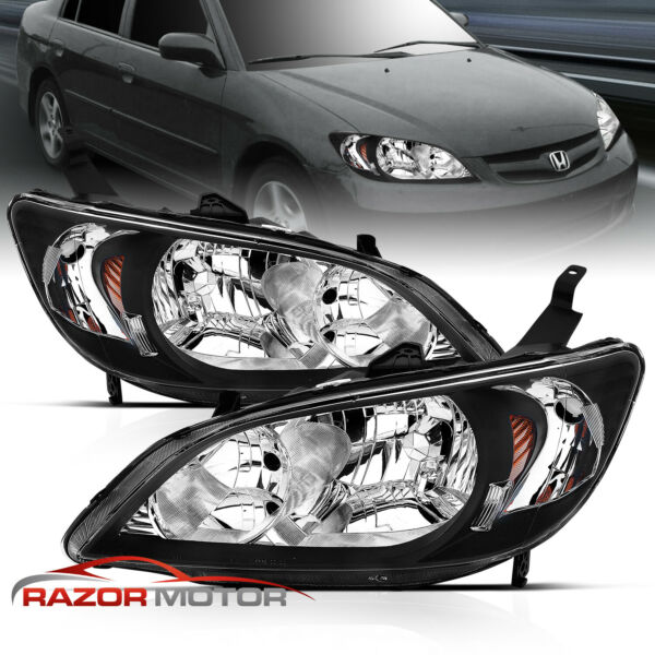 For 2004 2005 Honda Civic SedanCoupe Factory Style Black Headlights Pair