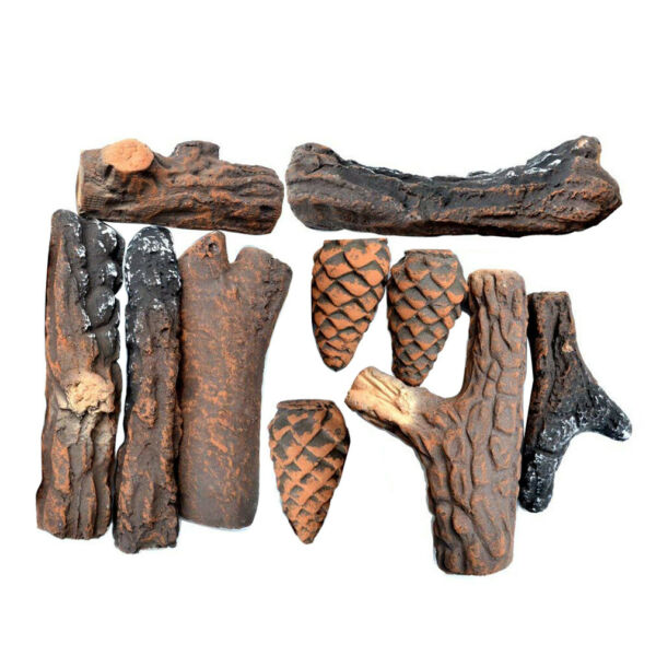 10PC Ceramic Wood Logs and Accessories for All Types of Indoor Gas Inserts