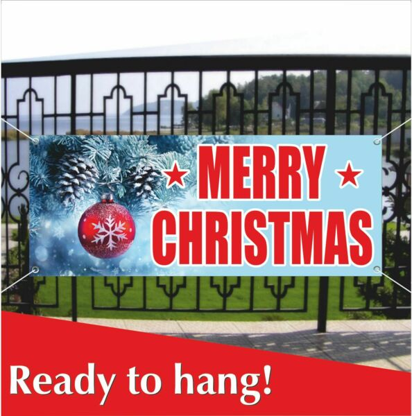 MERRY CHRISTMAS Advertisin Banner Vinyl  Mesh Banner Sign Home Decoration Party