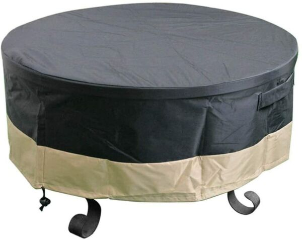 Full Coverage Round Fire Pit Cover Table Black 30 36 40 44 50 60 Inch