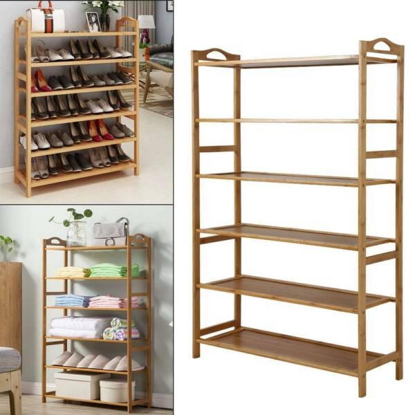 6Tiers Wood Bamboo Shelf Entryway Storage Shoe Rack Organizer Home Furniture