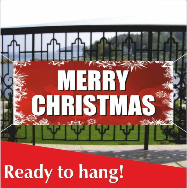 MERRY CHRISTMAS Advertising Banner Vinyl  Mesh Banner Sign Holiday Party Decor
