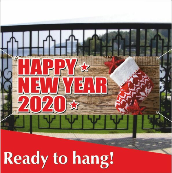 HAPPY NEW YEAR 2020 Advertising Banner Vinyl  Mesh Banner Sign Decoration Party
