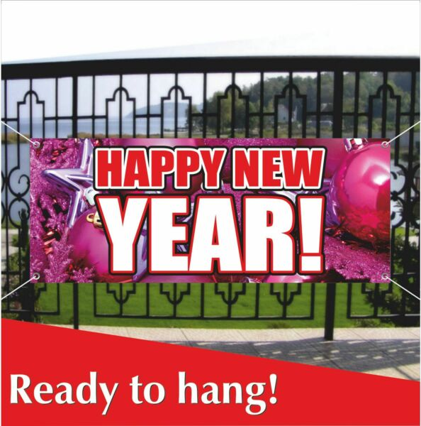 HAPPY NEW YEAR Advertising Banner Vinyl  Mesh Banner Sign Holiday Party Decor