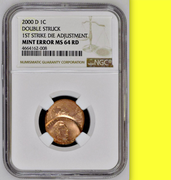 2000-D NGC MS64  Die Adjustment Strike Over-Struck by Normal Lincoln Cent ███ 1C