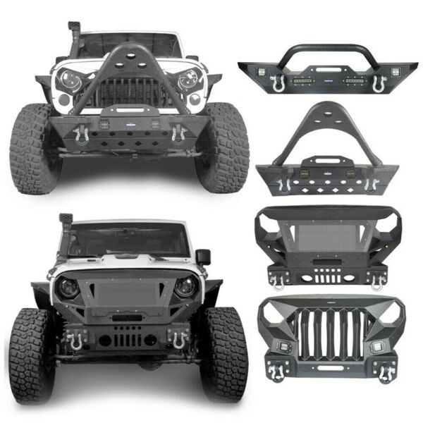 For Wrangler Jeep JKJKU 07-18 Off-road Steel Textured Front Bumper Guard Bar