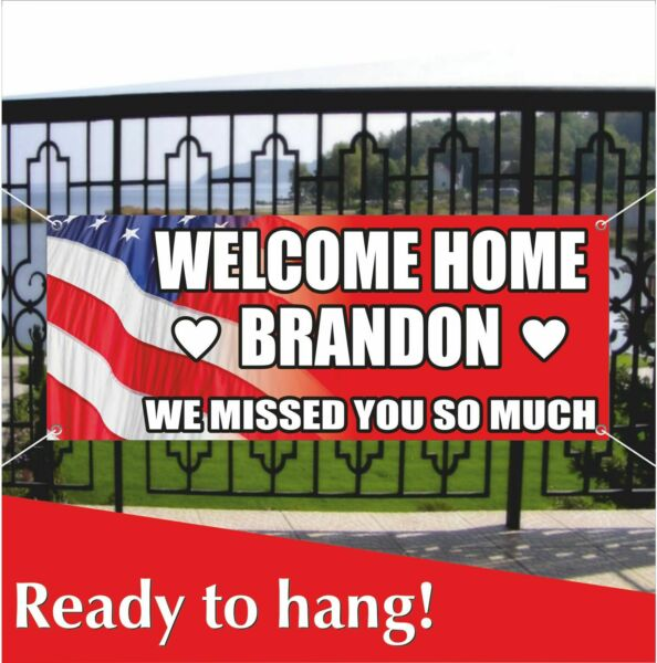 WELCOME HOME US Army Military Banner Vinyl  Mesh Banner Sign Party Decoration
