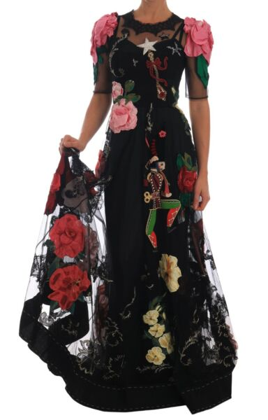DOLCE & GABBANA Dress Crystal Fairy Tale Floral Lace Gown IT40US6S RRP $29200