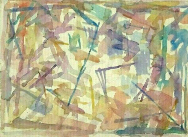 1990 LESTER SCHULTZ Listed Artist ABSTRACT EXPRESSIONIST ORIGINAL WATERCOLOR NR