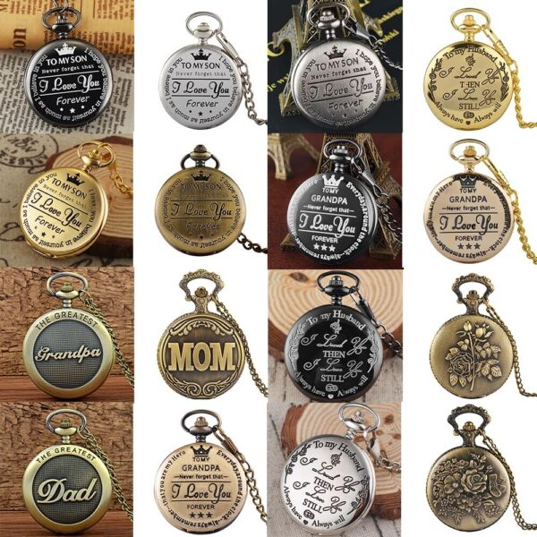 Best Gift for Family Vintage Steampunk Pocket Watch Necklace Pendant Retro Chain