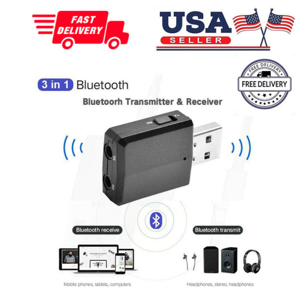 3 in 1 USB Bluetooth 5.0 Audio TransmitterReceiver Adapter For TVPCCar Grace