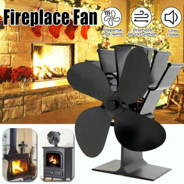 4 Blade Wood Heater Eco Fan Stove Fireplace Fire Heat Powered Fuel Saving Ecofan