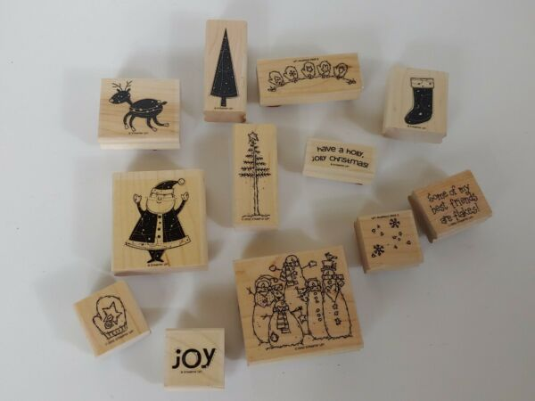 12 Stampin Up WINTER Christmas Holiday Vintage Rubber Stamps