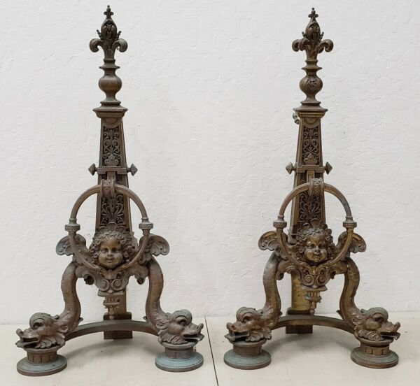Pair of Late 19th Century French Baroque Bronze Chenets  Andirons