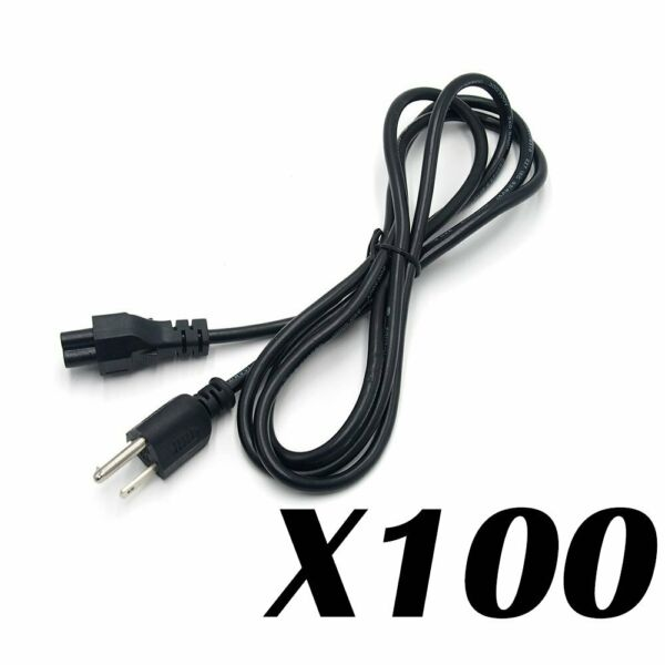 Lot of 100 PC 3-Prong AKA Mickey Mouse AC Power Cord for Laptop PC Printers USA