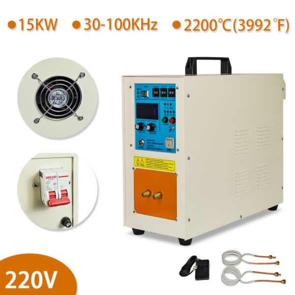 15KW High Frequency Induction Heater Furnace 110V 24Kg(53 Lbs) 30-100 Khz 220V