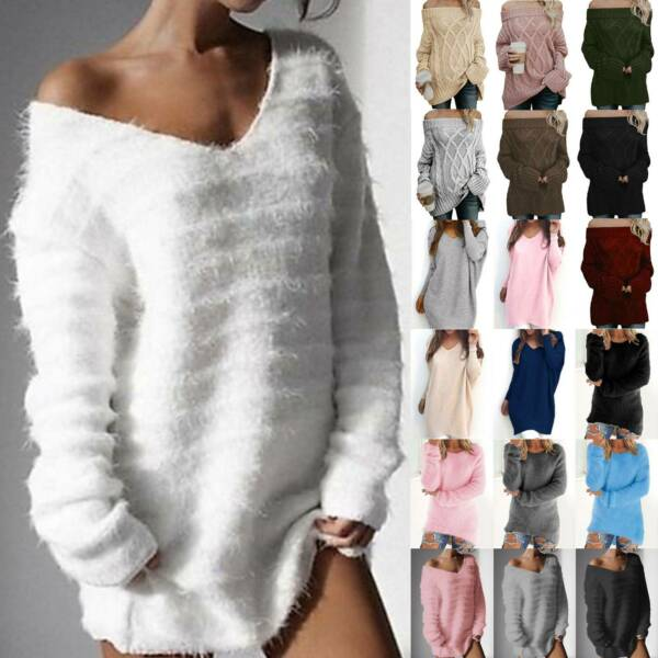 Womens Off Shoulder Knitted Sweater Long Sleeve Pullover Jumper Sweatshirt Tops